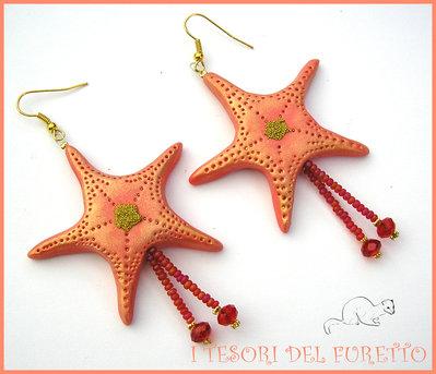 """Orecchini Estivi """"Stella marina corallo oro"""" Estate 2015 fimo cernit kawaii idea regalo per lei donna"""