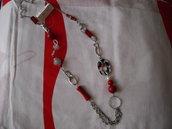 Collana lunga rossa + perlato argento e sfumato nero. Valencia