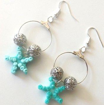 Orecchini con monachella a cerchio stella marina in fimo idea regalo per lei