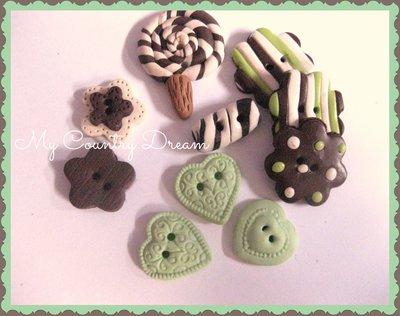 "Bottoni Artigianali ""Candys in green"""