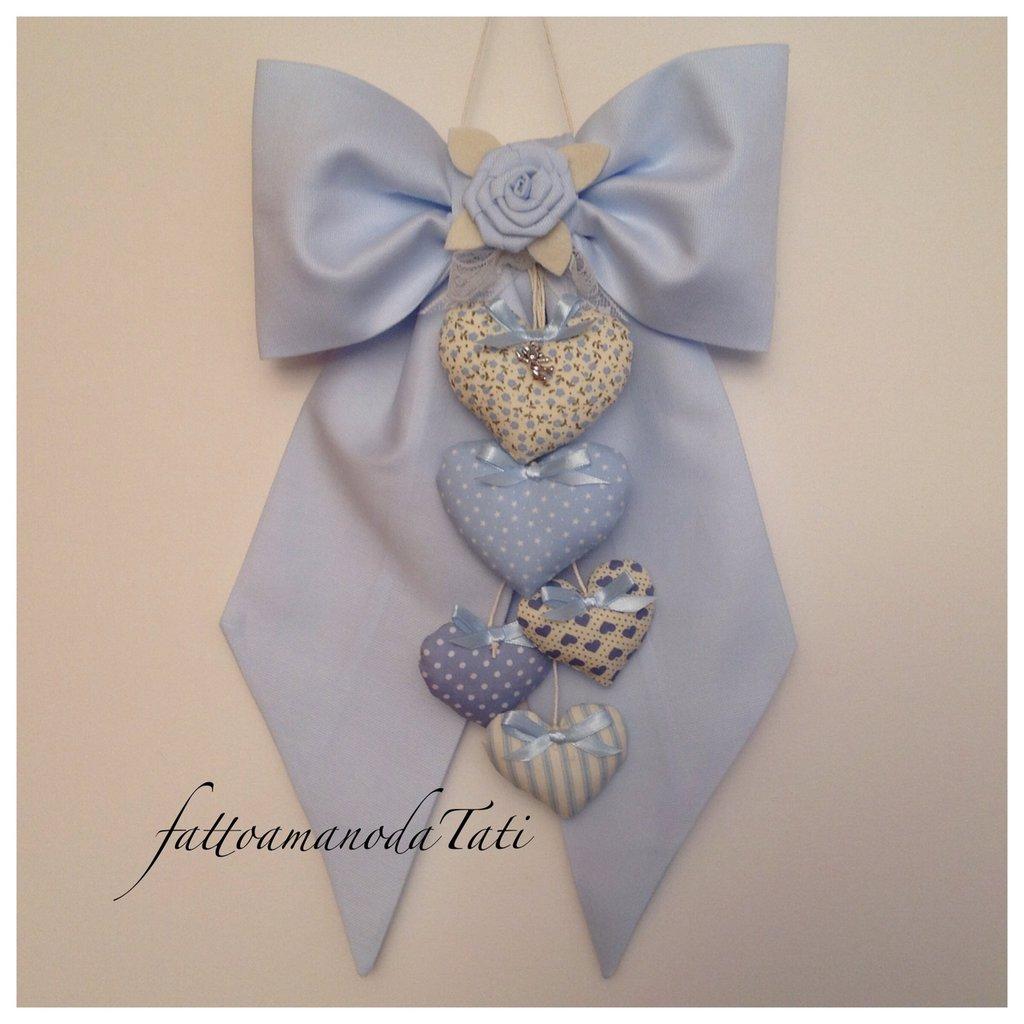 Fiocco nascita in piquet di cotone azzurro con cuori e rosa azzurra