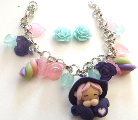 Bracciale folletta e marshmallow in fimo con perline in lucite  e orecchini in resina idea regalo pe rlei