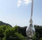 Collana bottiglia, goccia di vetro con Soffione boracifero - Dente di leone