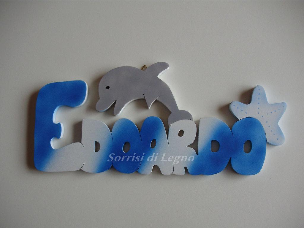 nome edoardo realizzato in legno da appendere bambini
