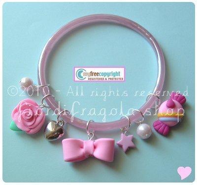 bracciale ooak in vetro colorato - rosa