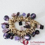 Bracciale Violet charm elastico in vetro di Murano fatto a mano