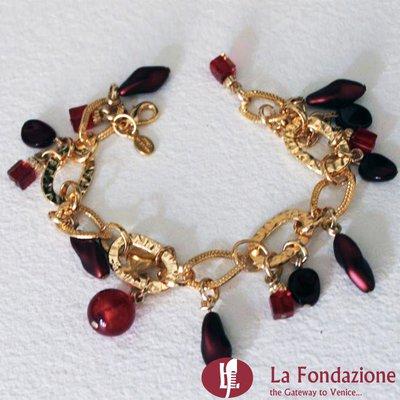 Bracciale Charm Cherry in vetro di Murano fatto a mano