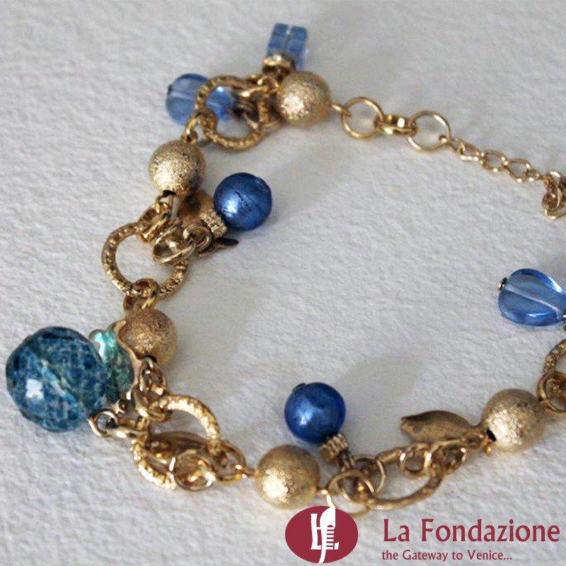 Bracciale Charm Bluette in vetro di Murano fatto a mano