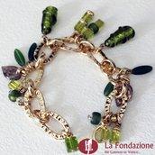 Bracciale Charm Lime in vetro di Murano fatto a mano