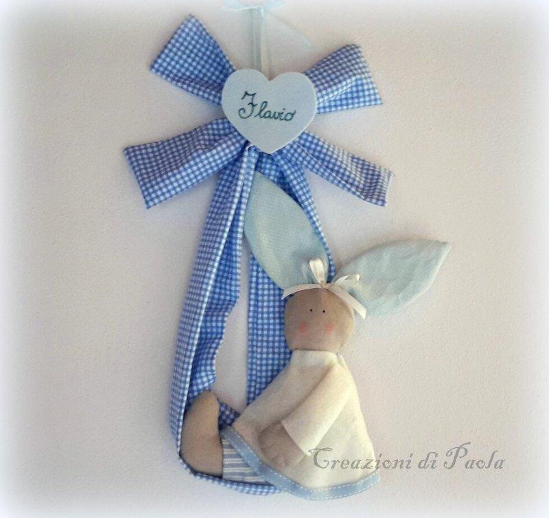 Fiocco nascita con coniglietto in stoffa