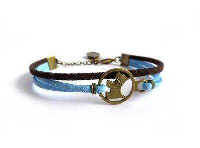 Bracciale Cane braccialetto donna cagnolino bronzo Celeste & Marrone amore animale my pet
