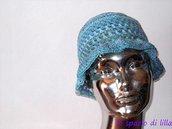 """Cappello crochet in cotone per donna, ragazza, per l'Estate """"Seaside"""" ,azzurro e lurex"""