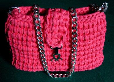 Borsa in fettuccia rosa corallo