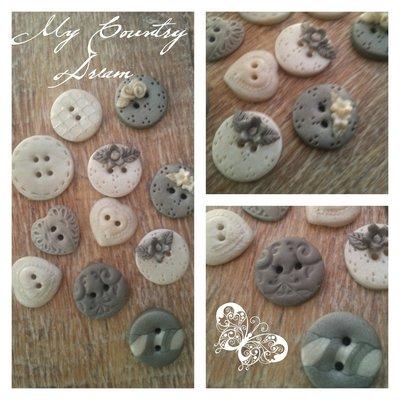 "Bottoni Artigianali ""Shabby Grey & Pearl"""