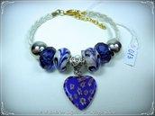 Bracciale in pelle intrecciata con murrina e perle a foro largo: Blu - HandMade