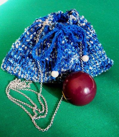 Pochette in cotone azzurro e lurex