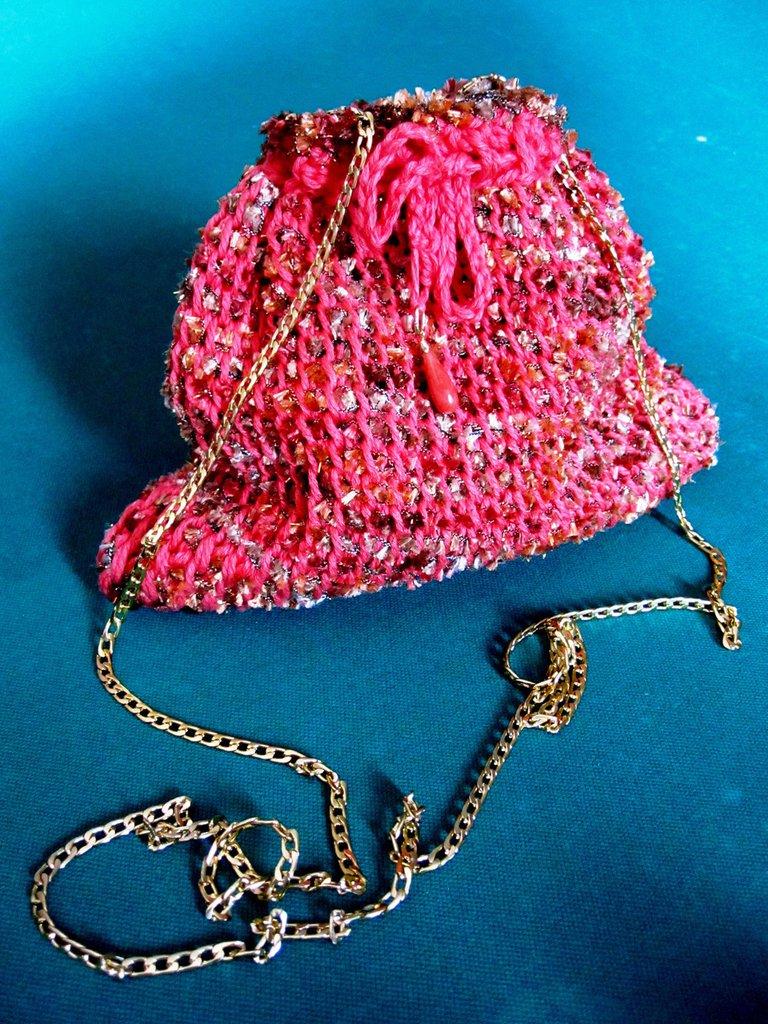 Pochette in cotone rosa corallo e lurex