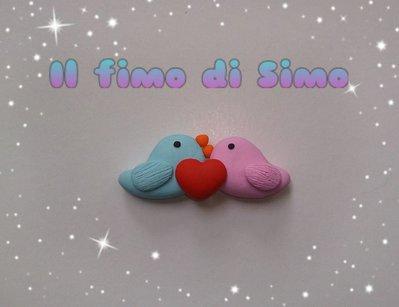bomboniera sposi uccellini in fimo