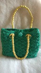 borsa in rafia verde smeraldo