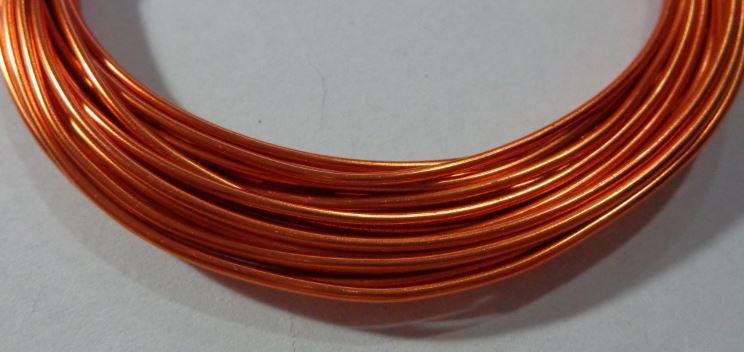 6 metri Filo Alluminio colore ARANCIO RUGGINE 1.5 mm