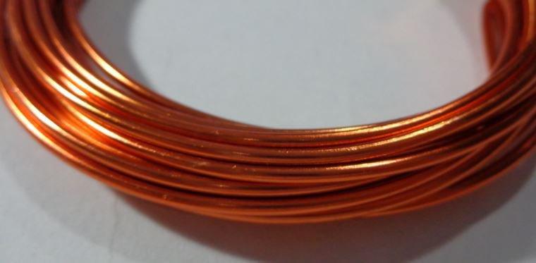 6 metri Filo Alluminio colore ARANCIO RUGGINE 2 mm
