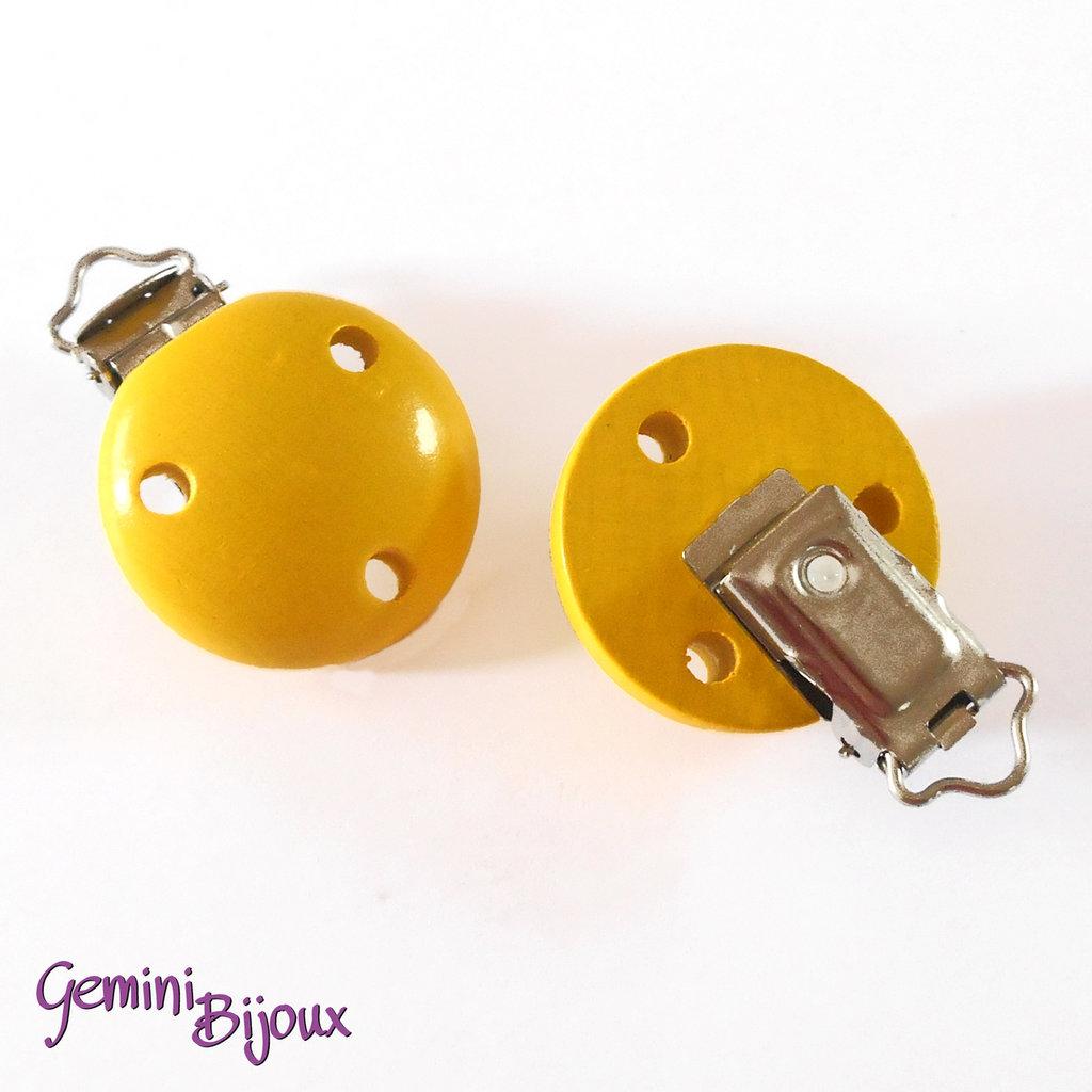 Clip in legno portaciuccio giallo