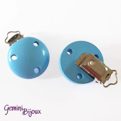 Clip in legno portaciuccio azzurro