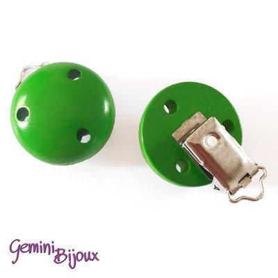 Clip in legno portaciuccio verde