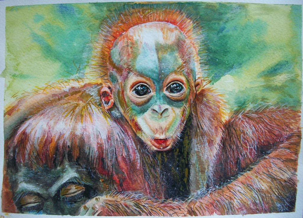 cucciolo orango acquerello, dipinto originale, arte