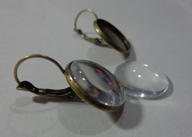 8 (4 paia) Base Orecchini per Cabochon e 10 Cabochon in vetro trasparente
