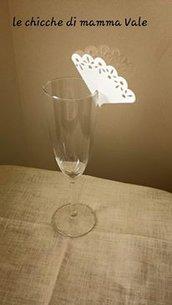 segnaposto ventaglio bicchiere fatto a mano