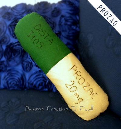 Cuscino Medicina - Prozac - Antidepressivo - Idea regalo - HANDMADE -