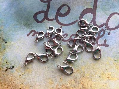 10 Moschettoni argento tone 12x6mm