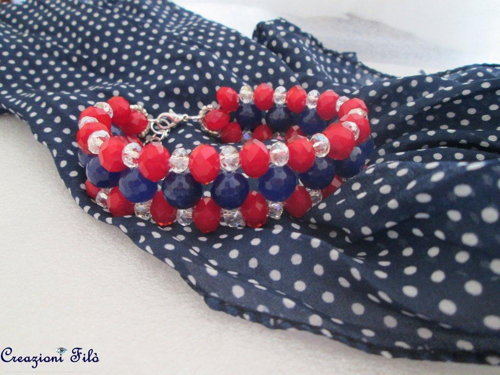 Bracciale semirigido rosso e blu con pietre e cristalli