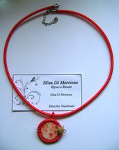 """Collana Soutache """"Red Flower"""" (Collezione Estate)"""