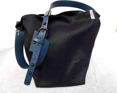"""Borsa """"Tote Bag"""" blu secchiello"""