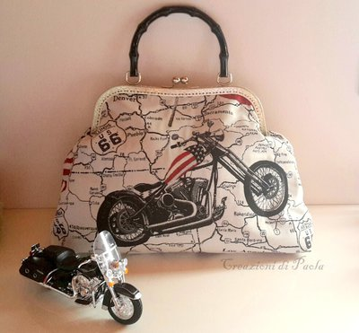 Borsa a mano con stampa Harley Davidson