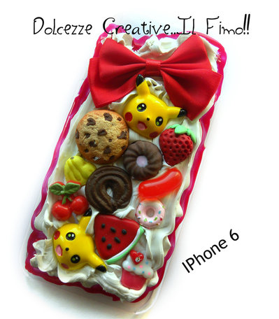 Cover IPhone 6 /6s - Pikachu - , kawaii, miniature, fiocco, cookie, fragole, nerd, gamer Pokémon
