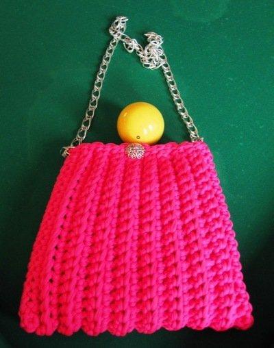 Borsa in fettuccia rosa