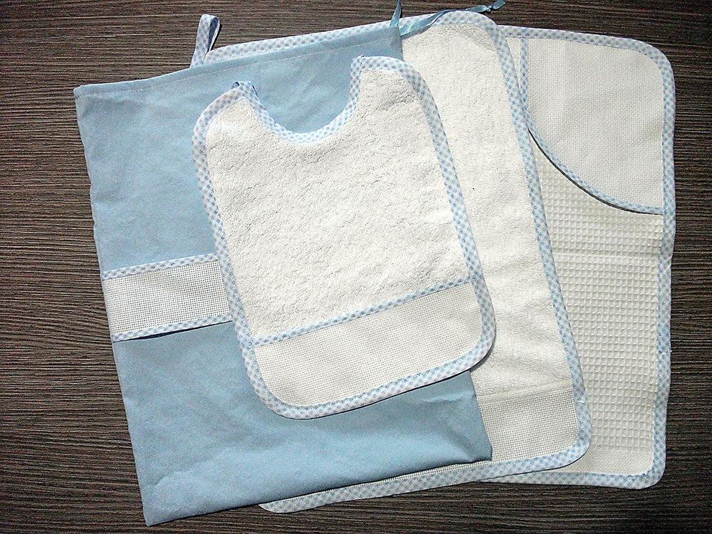 Set asilo 4 pezzi da ricamare tovaglietta bavaglino asciugamani sacca azzurro celeste