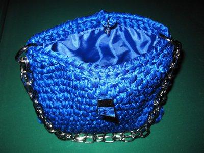 Borsa in fettuccia blu elettrico