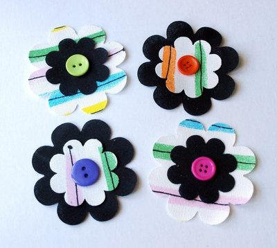 Set 4 fiori fustellati in tessuto - Black & Light