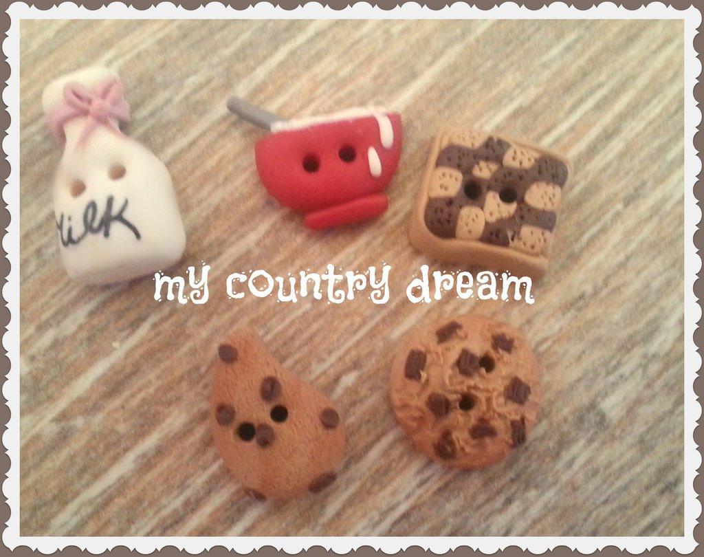 """Bottoni Artigianali """"Milk & cookies"""""""