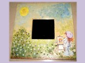 Specchio Sarah Kay pittrice decoupage