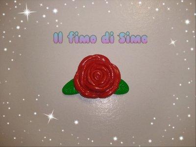 bomboniera rosa rossa in fimo