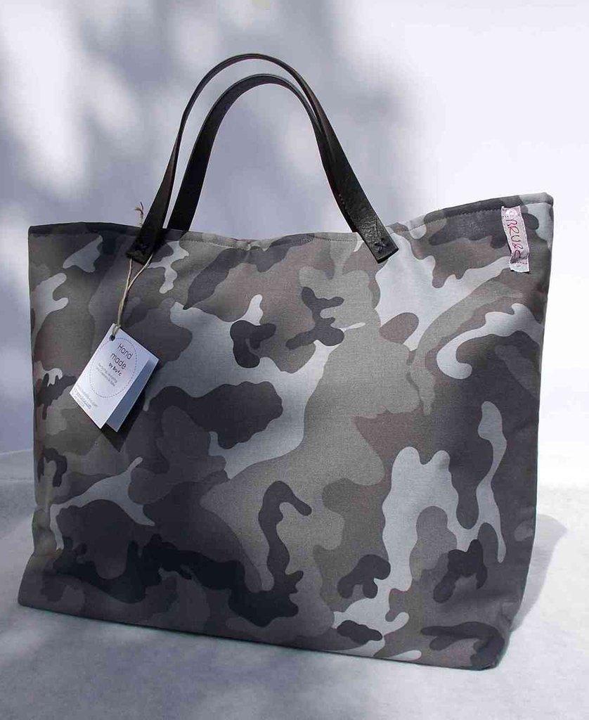 """Borsa """"Tote Bag"""" militare nero-grigio"""
