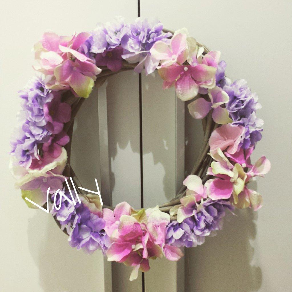 Fuoriporta con fiori Rosa e viola
