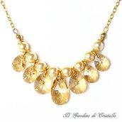 Collana con perle color oro gocce Swarovski miele e catena fatta a mano - Ginestra