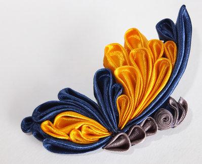 Farfalla  blu giallo kanzashi per cerchietto e fermacapelli