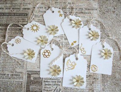 Lotto Tag - Etichette Chiudipacco per Regali e prodotti HandMade - White&Gold (8pz)